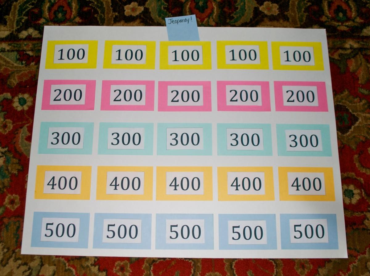 homemade jeopardy board
